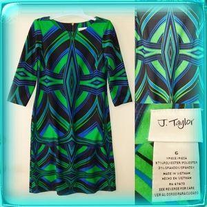 J Taylor geometric bold dress art deco green black